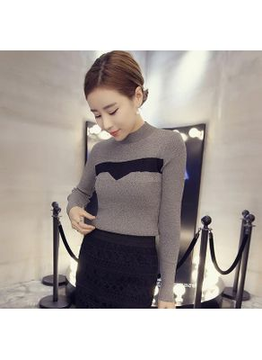 Color Block Fitted Sweater Top - KP001461