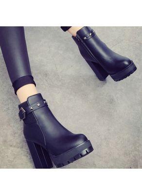 Block Heel Studded Boots - KP001488