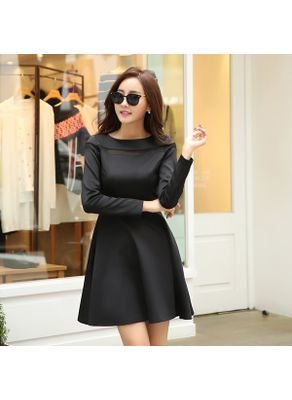 Black A-line Dress - KP001508