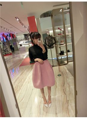 Turtleneck Top + Bubble Skirt - KP001509