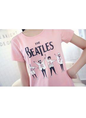 Beatles Print Pink T-shirt - KP001593