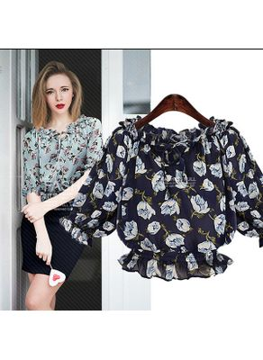 Beautiful Floral Chiffon Blouse in 3 colors - KP001692