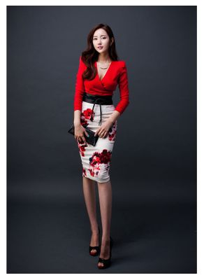 Floral Design Two Piece Dress with Belt - KP001720
