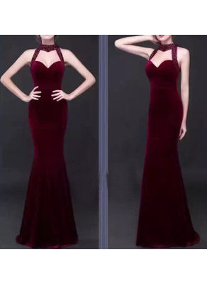 Beaded Long Party Dress - KP001812