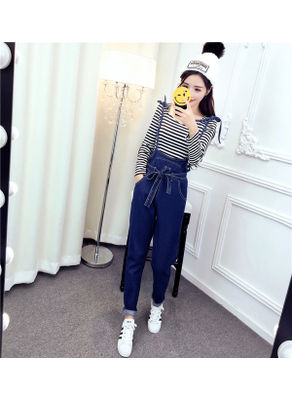 Denim Overalls + Stripped T-shirt - KP001838