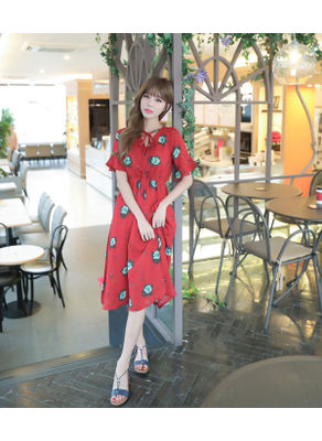 Red Floral Dress - KP001979