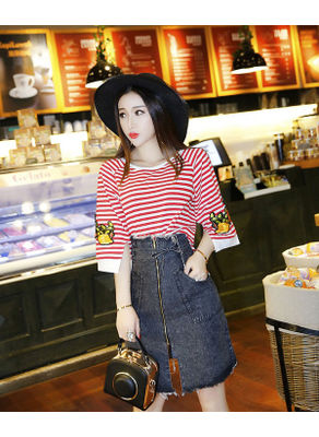 Stripped Tee + High Waist Denim Skirt - KP002090