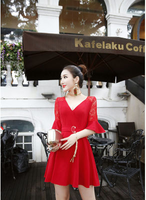 Cute V-Neck Party Dress - KP002120