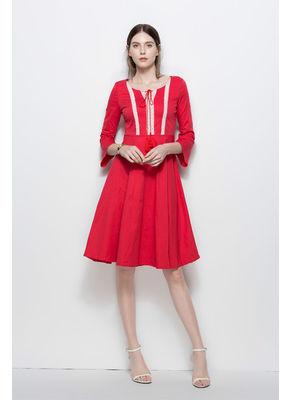 Beautiful O-Neck Patchwork Dress - KP002126