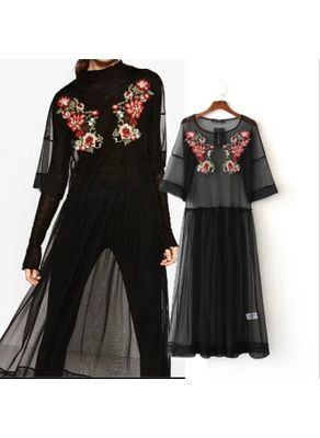Transparent Embroidery Yarn Dress - KP002168