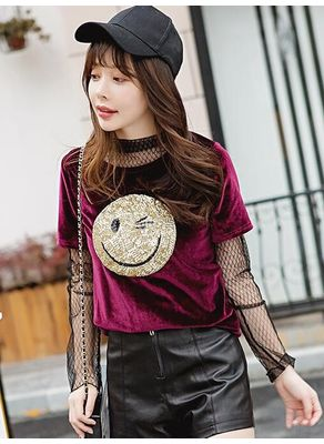 Gauze Smiley Print T-shirt - KP002290