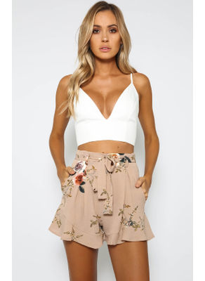 High Waist Floral Shorts - KP002301