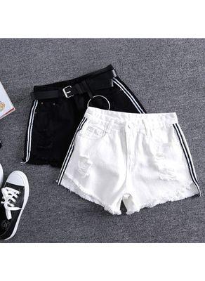 Striped Denim Shorts - KP002305