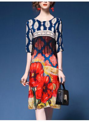 Silk Patchwork Dress - KP002316