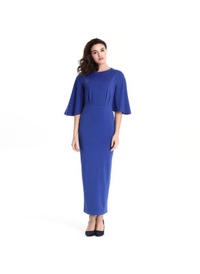 Flared Sleeve Blue Long Dress - KP002322