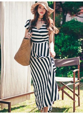 Korean Style Cotton Stripe Dress - KP002323