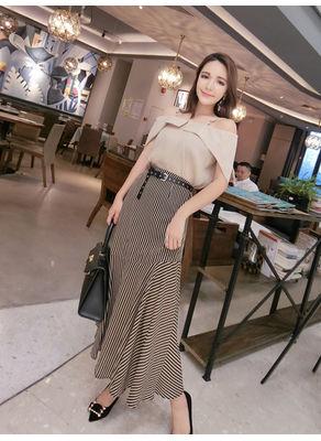 Ruffle Top + Stripped Skirt - KP002363