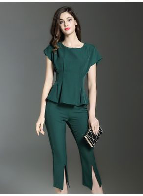 Peplum Top + Cropped Pants - KP002367