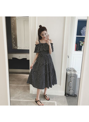 Polka Dot Ruffle Maxi Dress - KP002434