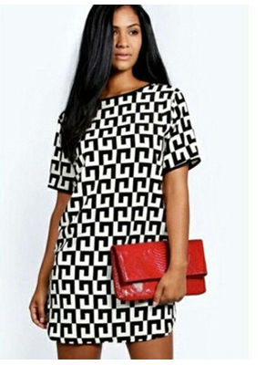 Geometric Print Loose Tee - KP002456