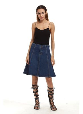 Denim Knee Length Skirt - KP002464
