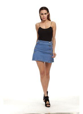 Cute Button Design Denim Skirt - KP002480