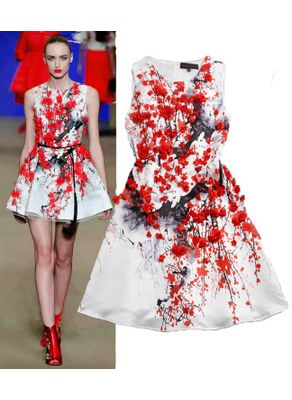 Beautiful Floral Red On White Style Party Dress