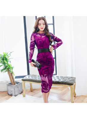 Wine Red Embroidery Party Dress - KP001810