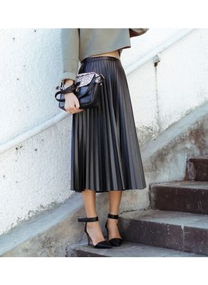 Beautiful Pleated PU Skirt
