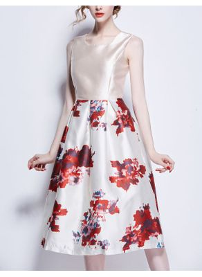 Vintage Style Floral Ball Gown Party Dress