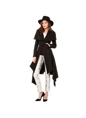 Black Asymetrical Long Coat - KP001407