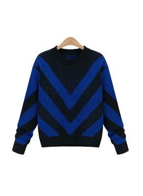 Blue Striped Sweater - KP001436