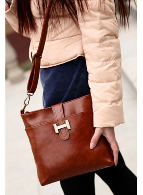 Buckle Design PU Handbag -Brown - KP001570
