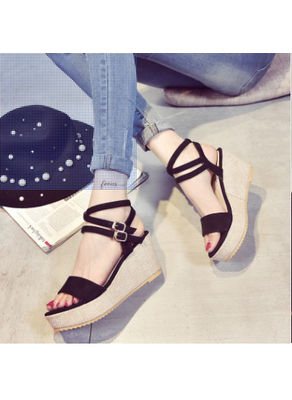 Cross Buckle Wedge Sandals -  KP001893