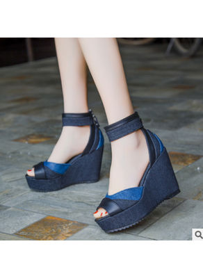 Denim + PU Wedge Sandals - KP001903