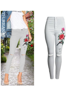 3D Embroidery Jeans - KP002009