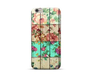 Wooden Floral Checks Phone Case