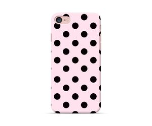 Black polka dots on Pink Phone Case