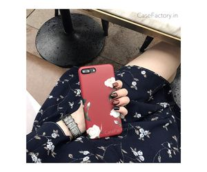 Maroon white roses Phone Case