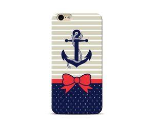 Blue anchor white polka Phone Case