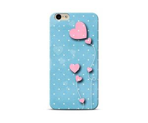 Blue polka hearts Phone Case