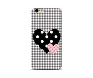 Black polka hearts Phone Case
