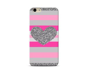 Pink Silver Heart Phone Case