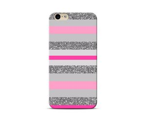 Pink silver stripes Phone Case