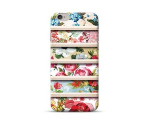 Wooden Stripes on Floral  Phone Case