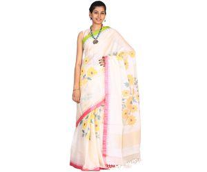 Beige Khadi Cotton Handloom Saree All Over Flower Design kh0118