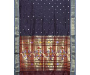 Dark Brown Paithani Pure Silk Handloom Saree Special Pallu p0176
