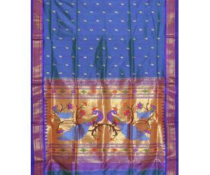 Royal Blue Paithani Pure Silk Handloom Saree Special Pallu p0172