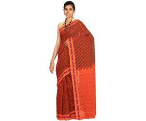 Rust Pochampally Or Ikat Cotton Handloom saree all over lines design i0228
