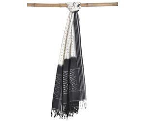 White Pochampally Or Ikat Cotton Handloom Dupatta ds0699